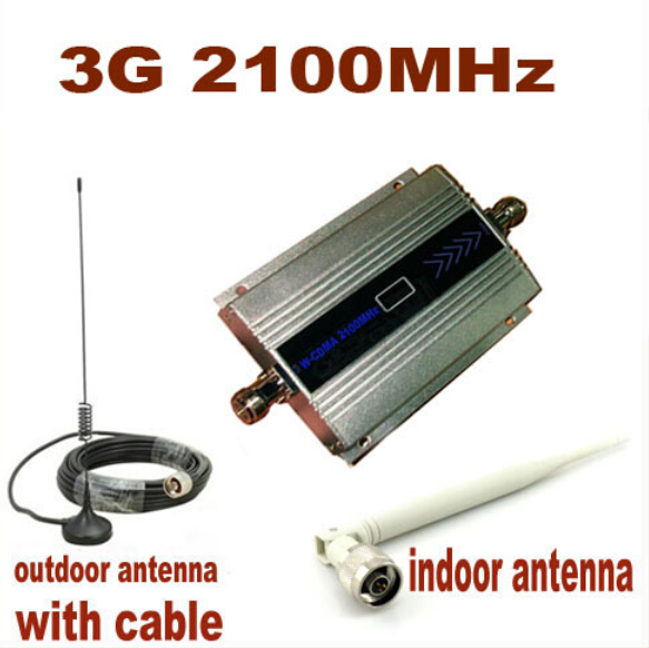 Full Set LCD 3G W-CDMA 2100Mhz 3G Repeater Coverage 500 Square 3g Booster Mobile Phone Booster Amplifier Repeater With Antenna