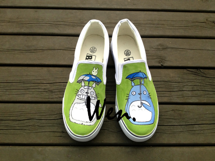 Wen Anime Hand Painted Shoes Design Custom My Neighbor Totoro Men Womens Slip On Canvas Shoes Christmas Birthday Gifts