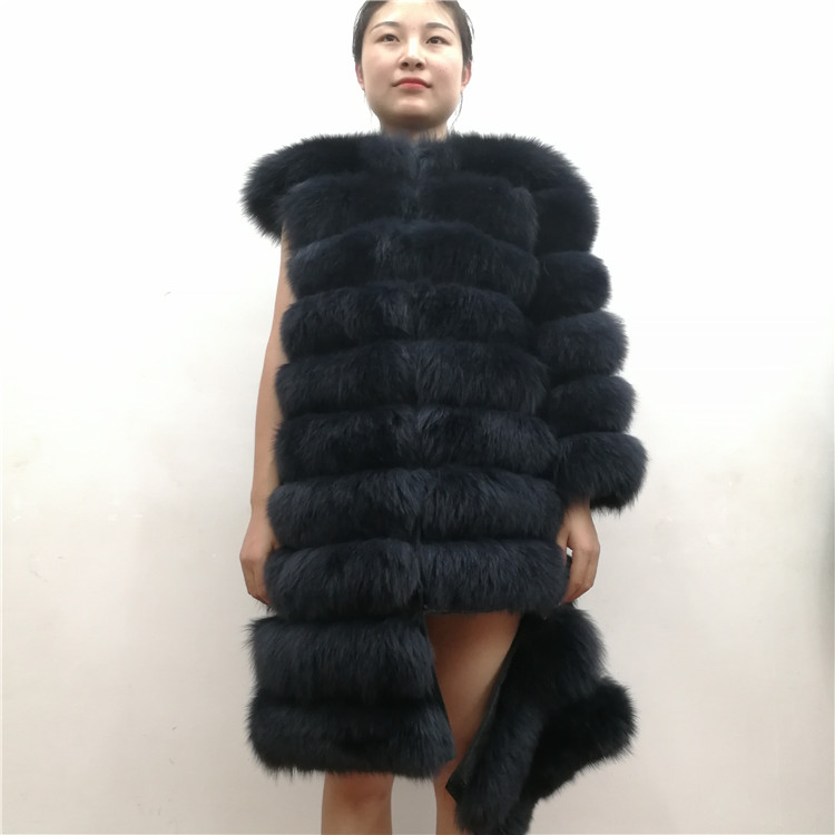 100% Natural Real Fox Fur Coat Women Winter Genuine Vest Waistcoat Thick Warm Long Jacket With Sleeve Outwear Overcoat plus size 27