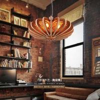 Wooden Pumpkin pendant lights Retro Living Room Restaurant Cafe Garment Shop Loft Garden Single Head pendant lamps ZA MZ110