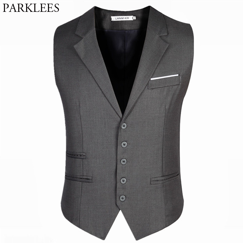 Men Single Breasted Suit Vest 2018 New Fashion Business Sleeveless Waistcoat Mens Slim Fit Suit Vests Colete Social Masculino