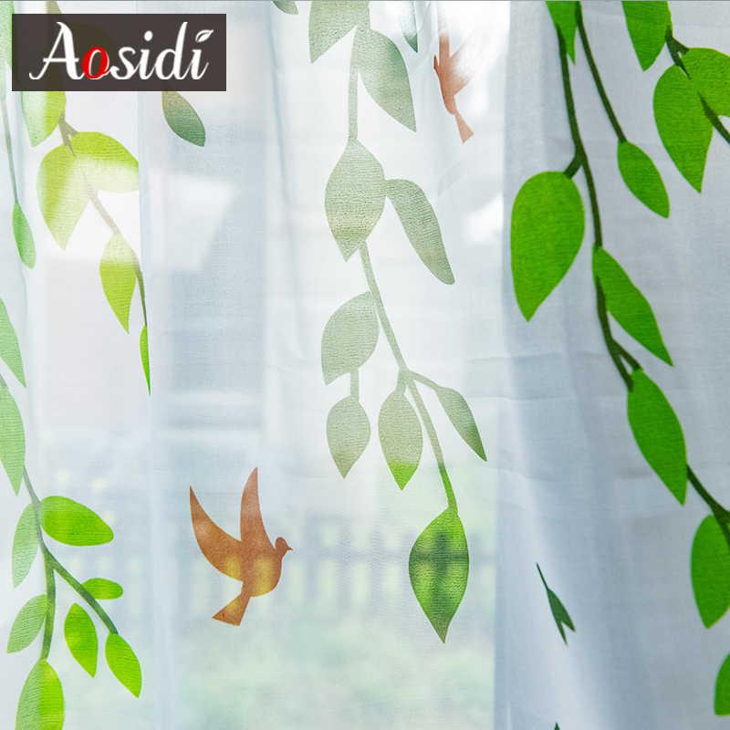 AOSIDI Salice Moderno Tende di Tulle Per Soggiorno camera Da Letto Uccello Stampato Voile Tende Trasparenti Per La Finestra Tende di Tulle Tende