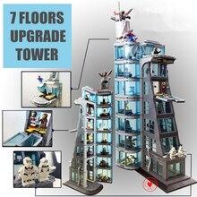 Модернизированная башня мстителя Супер Герои подходят legoings Бесконечность войны Марвел из Мстителей Железный Человек строительный блок кирпич ребенок подарок игрушка