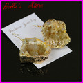 Natural Geode Quartz Druzy Stone Dangle Earring in Yellow color,Gem Crystal Druzy Drusy Stone Hook Earings Jewelry