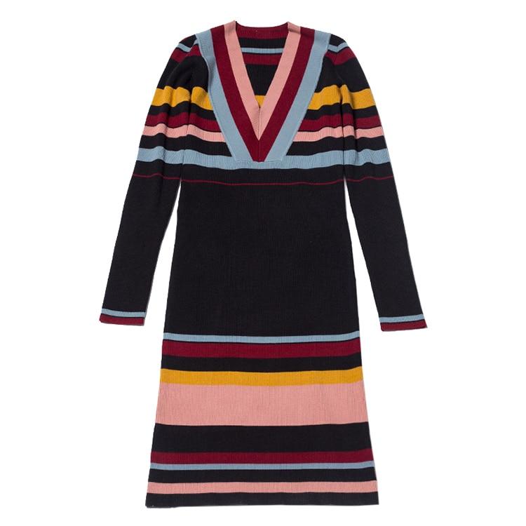 Automne À Longues Rayé Marque Kenvy Haut Mode Manches Robe Luxe Femmes De Gamme Tricoté WRqTwpg