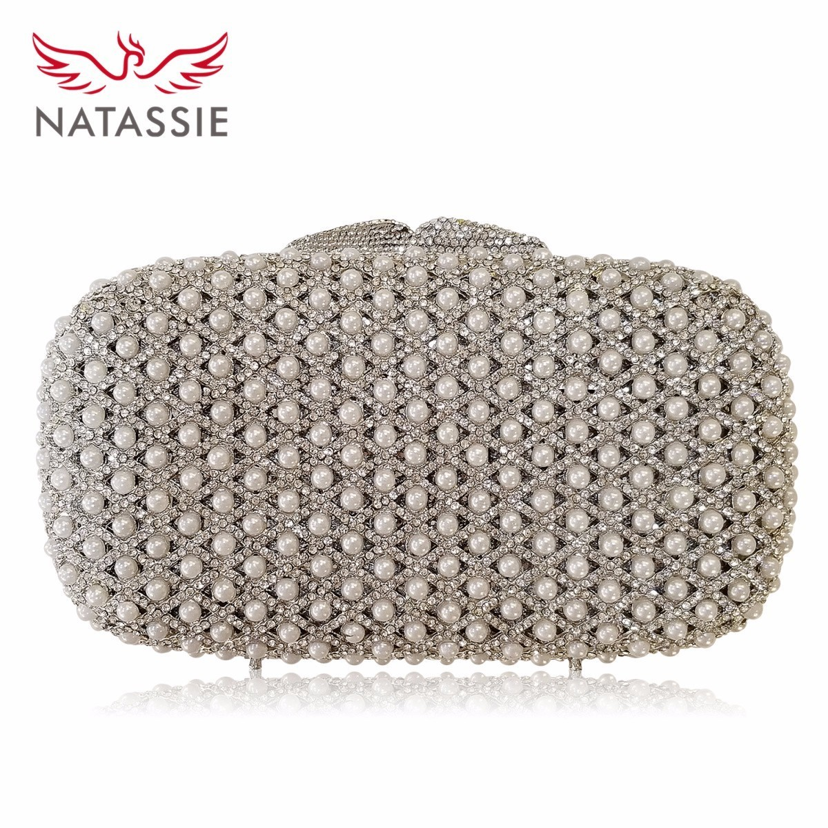 NATASSIE Rhinestone Silver Clutch Bag With Beading Wedding Clutches Sisters Party Attractive Shine Doubleside Crystal Bag L1077 сумка tyoulip sisters tsb162ven silver distance