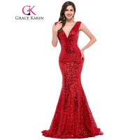 Free Shipping Grace Karin Golden Long Sequins Deep V Ball Gown Evening Dress CL6052