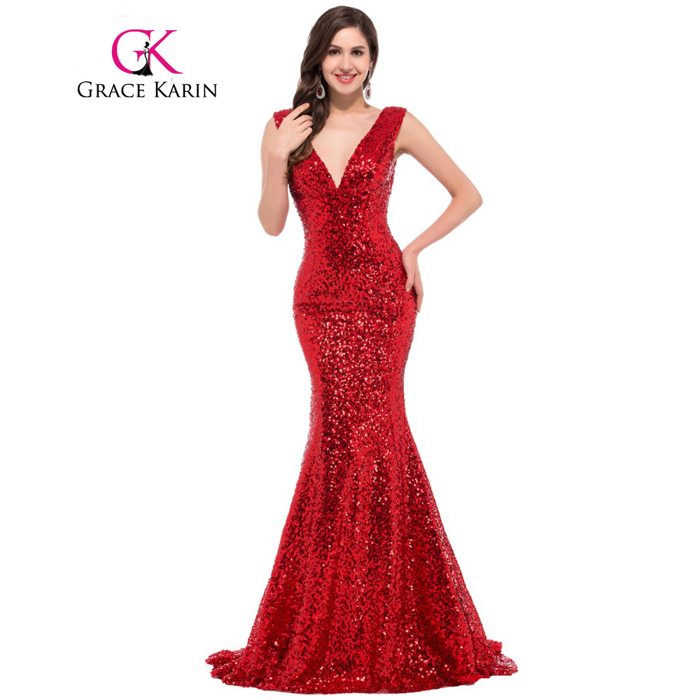 Grace Karin Mermaid Evening Dress 2017 Deep V Celebrity Vestidos Formal Golden Red Black ...