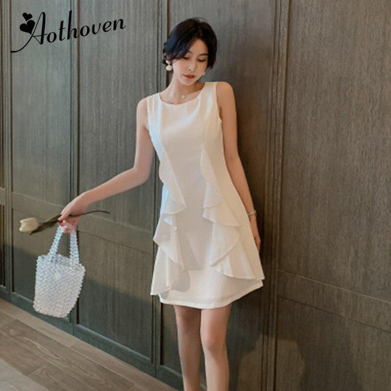 Summer High end White Dresses Office Lady Elegant Party Bandage Elegant A Line Dress O Neck
