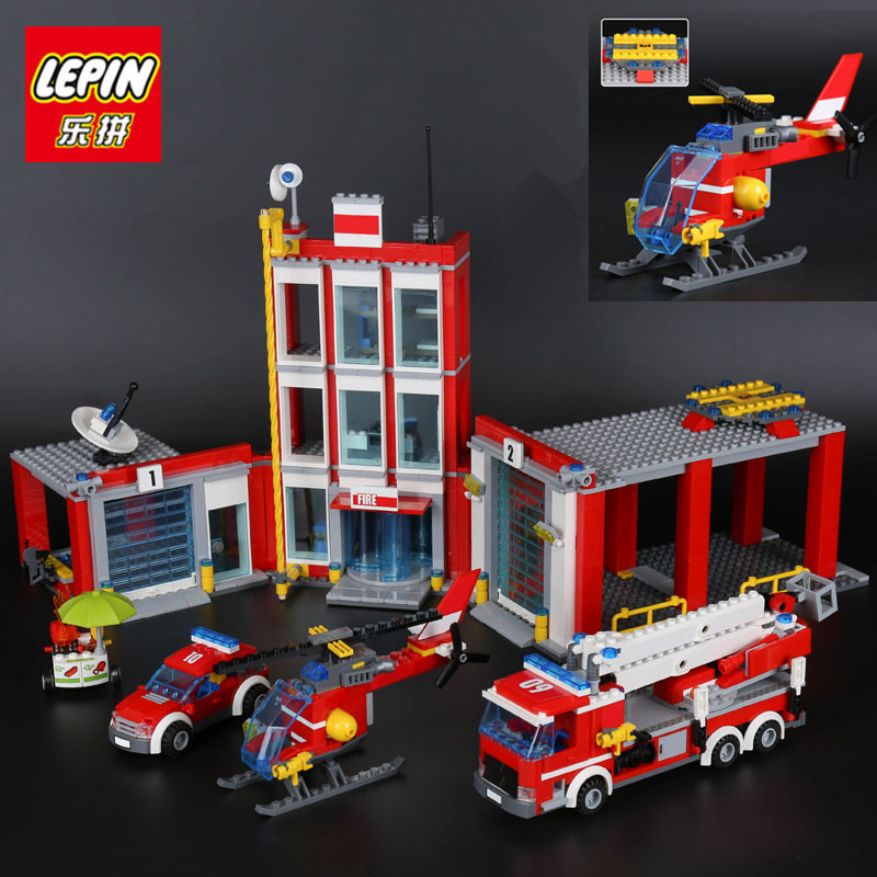 IN STOCK LEPIN 02052 Genuine City Series 1029Pcs The Fire Station Set 60110 Building Blocks Bricks Educational Toys boys Gifts lepin 02052 genuine 1029pcs city series the fire station set 60110 building blocks bricks educational toys christmas gift model