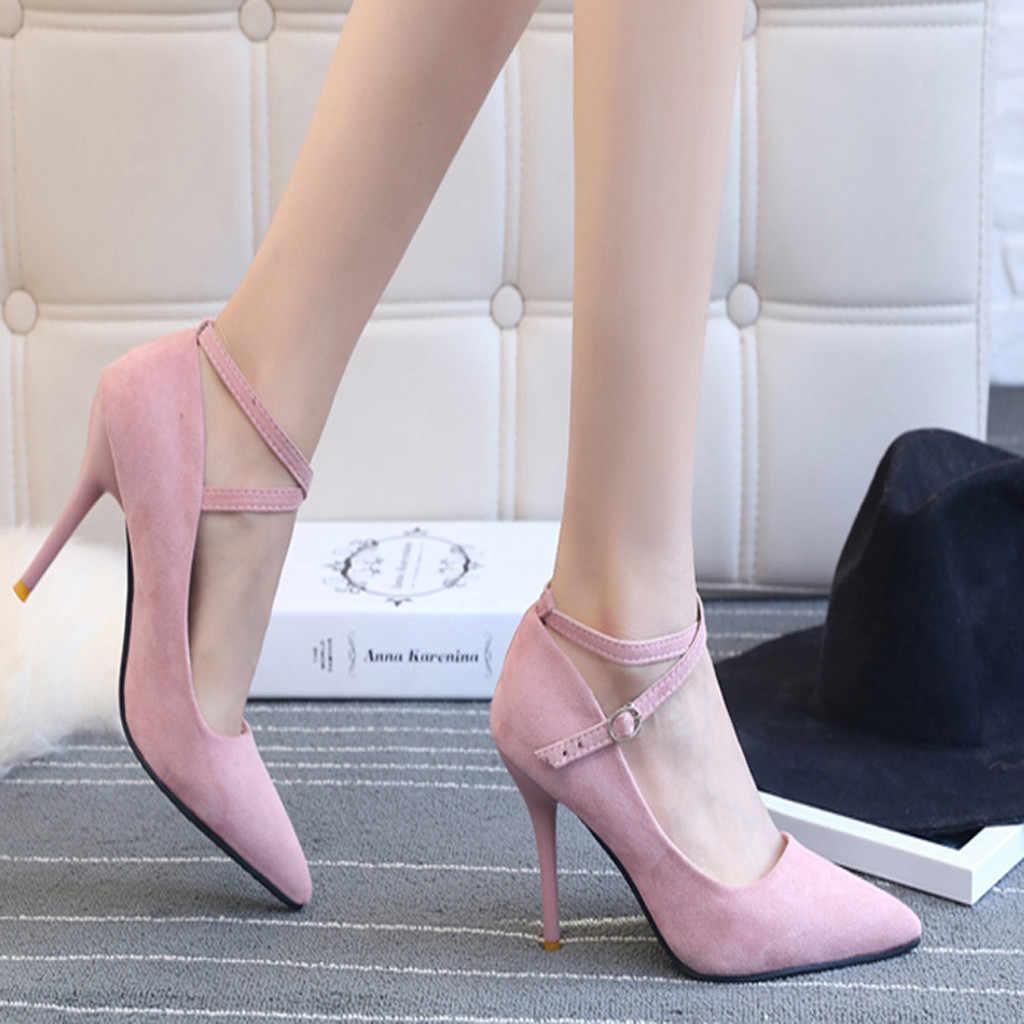 ad6febe1ef8a Zapatos mujer tacón moda mujer zapatos verano Sexy correa cruzada punta  cabeza antideslizante tacón grueso zapatos individuales zapatos de tacón ...