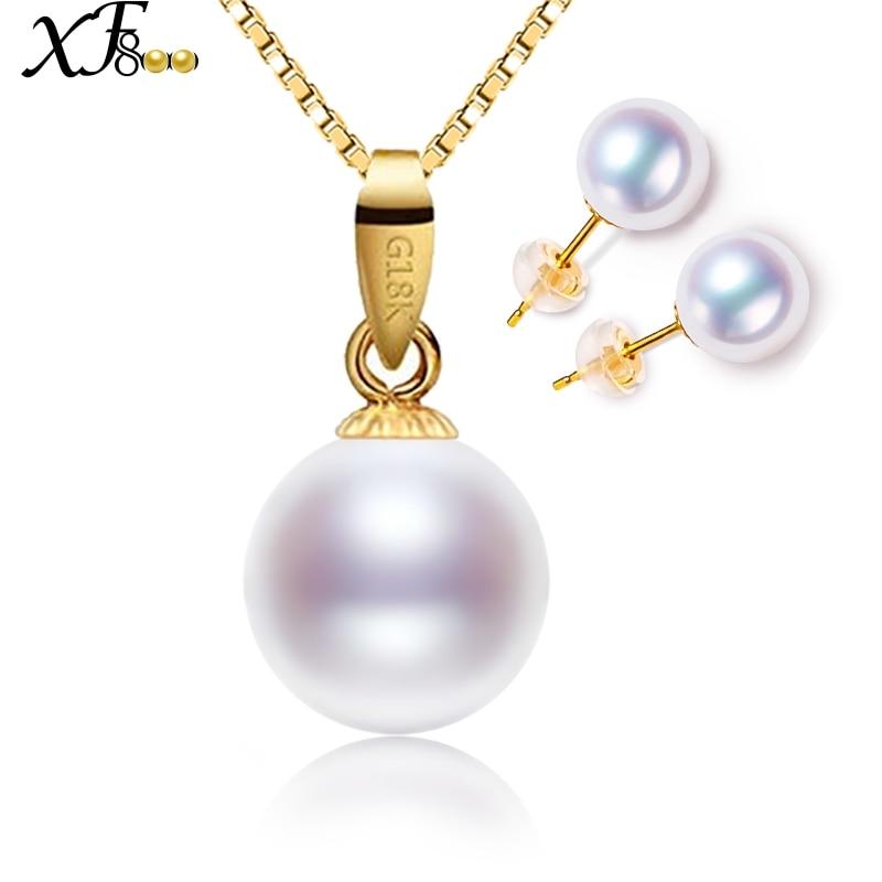XF800 marque 18 K or collier boucles d'oreilles bijoux AU750 naturel perle pendentif collier boucles d'oreilles ensembles de bijoux blanc rond perle T22