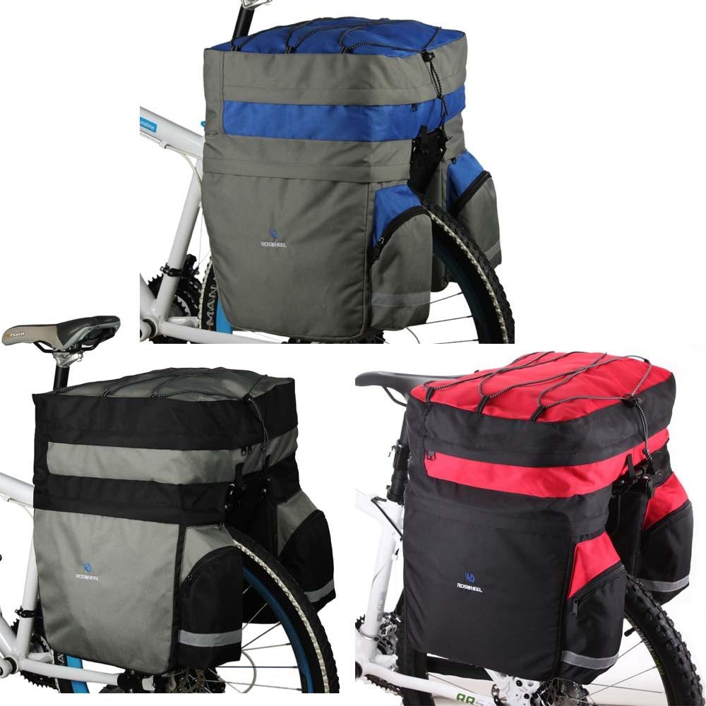 ROSWHEEL 60L Impermeabile Poliestere Strada di Montagna Della Bicicletta Del Sacchetto Della Bici Ciclismo Doppio Lato Posteriore del Rack Coda Mandato Trunk Bag Pannier