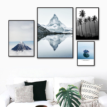 Matterhorn Mountain Peak Tree Boat Lake Wall Art Canvas Painting Nordic Posters And Prints Wall Pictures For Living Room Decor цена 2017