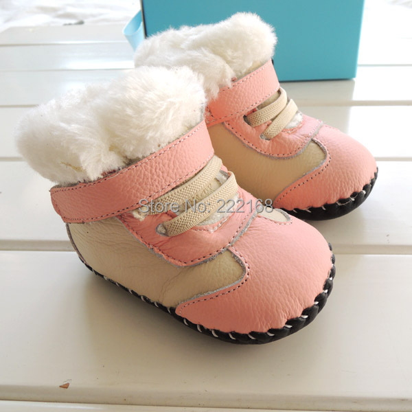 2018 Winter Thicken Fur Genuine Leather Baby Girls Pink Snow Boots Infant Kids Toddler Shoes First Walkers Christmas Gifts