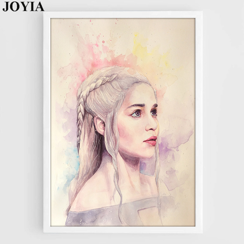 Game of Thrones Canvas Art Daenerys Targaryen Mother of Dragons Wall Decor Picture Jon Snow Watercolor Posters And Prints