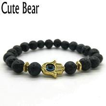 Cute Bear Brand Black Matte Bead Lava Stone Beaded Bracelet Women Fatima Hamsa Hand Bracelet Men Jewelry