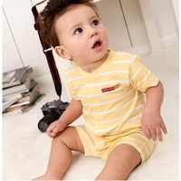 Żółty pasek dziecko chłopców ubrania garnitur noworodka body kombinezony lato 100% bawełniane śpioszki dla niemowląt z krótkim rękawem