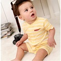 Amarelo Tarja meninos roupas terno recém-nascidos ternos do corpo do bebê verão 100% do bebê do algodão macacão de mangas curtas