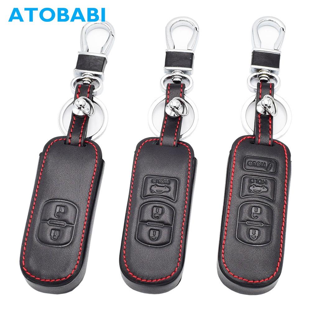 ATOBABI Leather Car Key Case for Mazda 2 3 6 Axela Atenza CX-5 CX5 CX-7 CX-9 2015 2016 2017 Smart 2/3/4 Buttons Remote Fob Cover цены онлайн