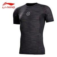 Li Ning Men Wade Series Tight Jerseys Elastic Quick Dry Comfort Tops Li Ning 88% Polyester Tees Li Ning Sports T shirt AUDM091