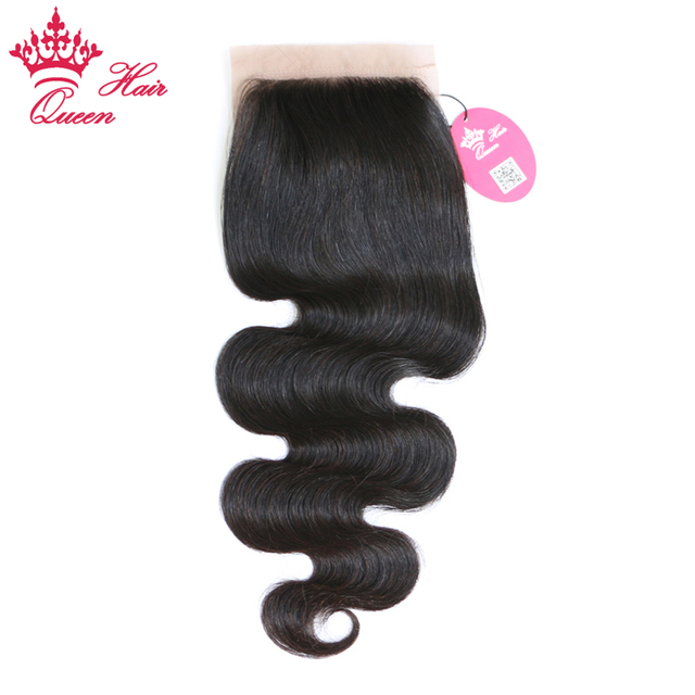 Queen Hair Products Free Part Silk Base Closure Brazilian Virgin Hair Body Wave 100% Human Hair Natural color