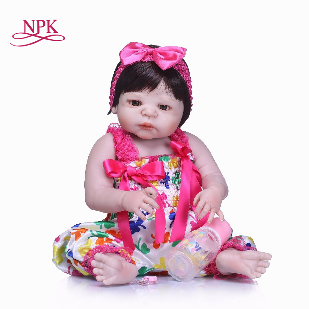 NPK 2018 New full Silicone Reborn Baby Dolls About 22 Inch Lovely Doll Reborn For Baby Gift Bonecas Bebe Reborn Brinquedos