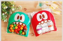 25PCS/Lot Mini Big Mouth Gifts Bags Candy Chocolate Bean Packaging Bag Self-adhesive Biscuit Cookies Plastics Bags Xmas Package