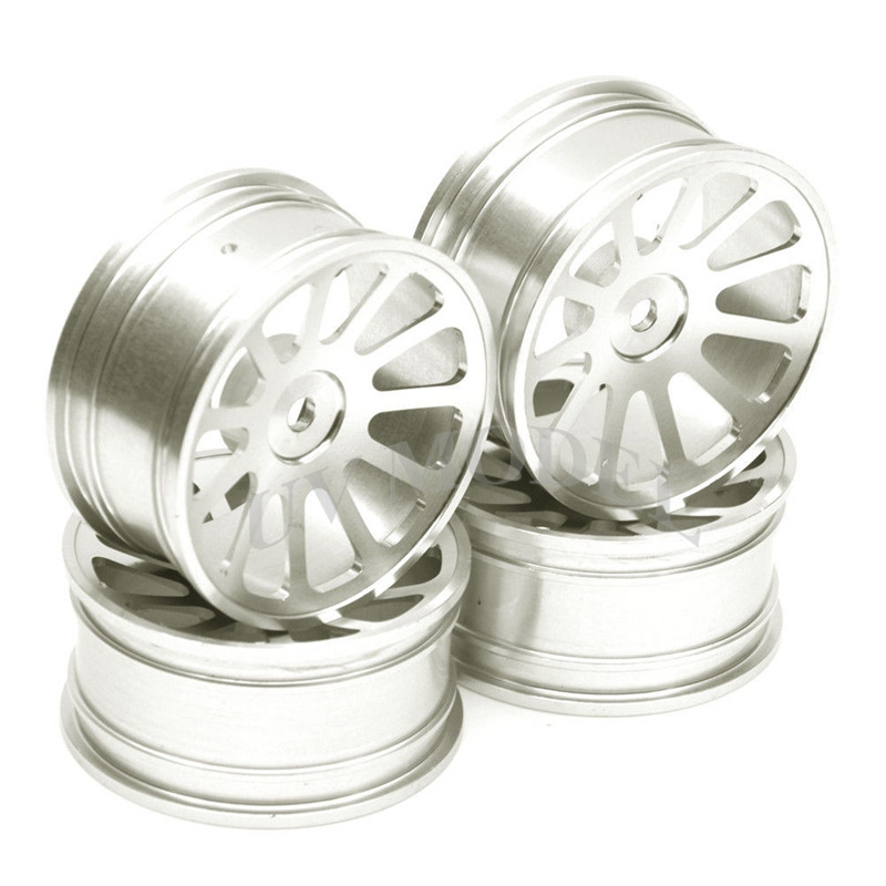 4Pcs RC 1:10 On-Road Car Racing Aluminum Wheel Rim For HSP D3 D4 XI Silver 02023 clutch bell double gears 19t 24t for rc hsp 1 10th 4wd on road off road car truck silver