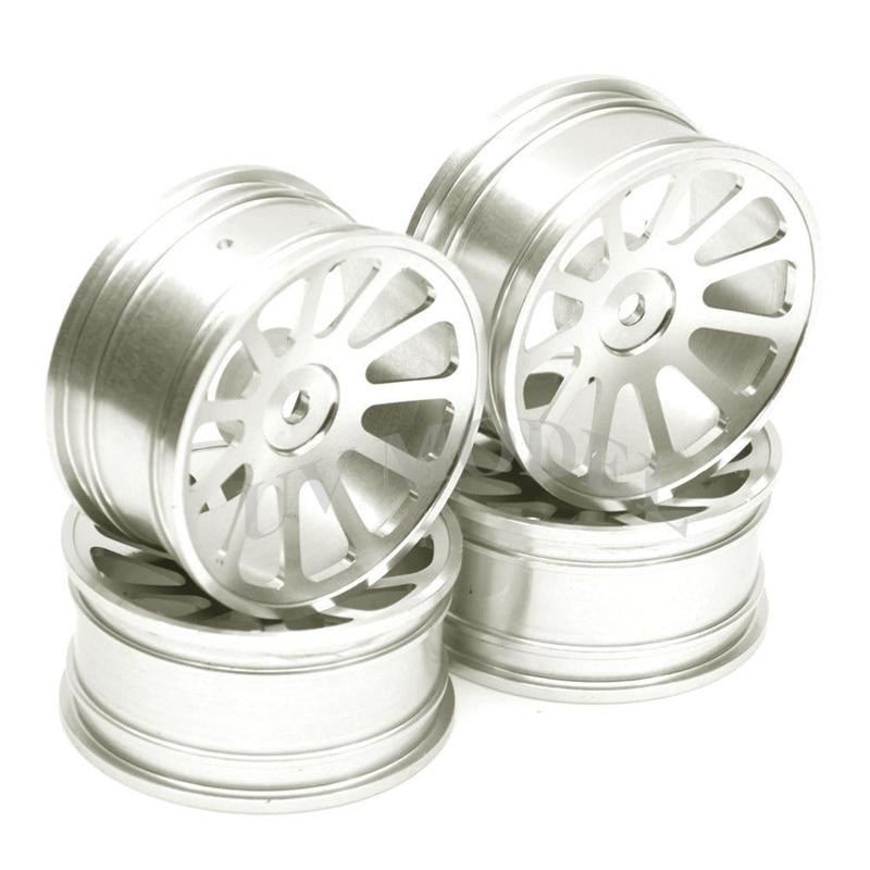 4Pcs RC 1:10 On-Road Car Racing Aluminum Wheel Rim For HSP D3 D4 XI Silver aluminum 6 spoke wheel rim for 1 10 rc on road racing car