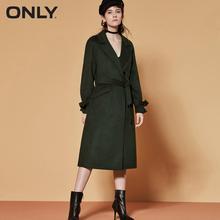 רק הנשים חורף חדש ארוך צמר מעיל צד סדק עיצוב שרוול לקשור עיצוב