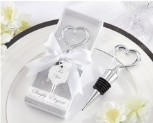 120pcs/lot Elegant Wedding party favor gift heart shaped Wine Bottle Stopper with box Bridal Christmas holiday ww002