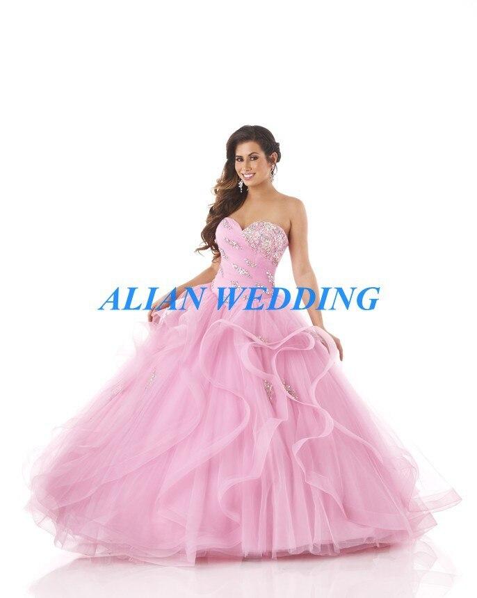 Caliente venta Blush Pink Quinceanera Dresses encaje Trajes De novia ...
