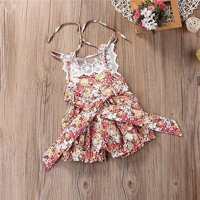Newborn Baby Girls Sleeveless Short Rompers Floral Romper Jumpsuit Sunsuit Clothes Baby Clothing