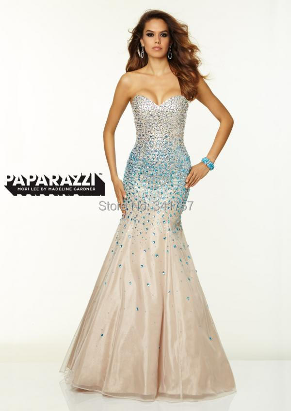 Peacock Beaded Evening Dresses Mermaid 2015 Vestidos Para Festa Crystals Shoulder Formal Dress Organza Custom Made EL917 - Full Romantic Wedding store