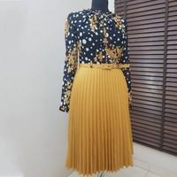 Spring Autumn Chiffon Print Dress Casual Cute Women Floral Long Bowknot Dresses Long Sleeve Vestido L 3XL Plus Size