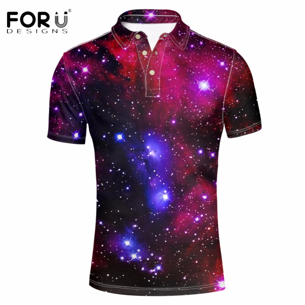 FORUDESIGNS 3D Superstar Galaxy Space Printing Polo Shirt for Men Summer Short Sleeve Business Polos Male Clothes Camiseta Homme