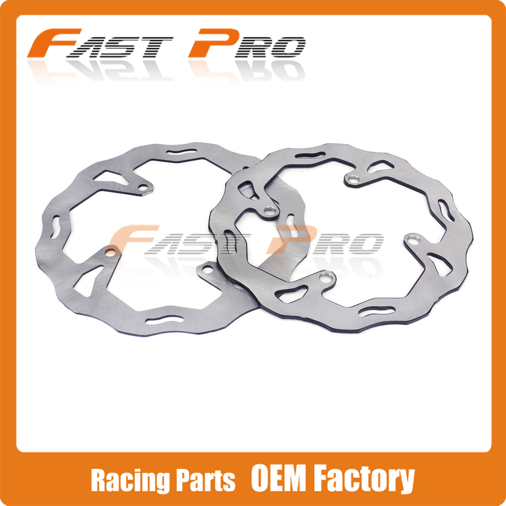 Front Rear Wavy Brake Disc Rotor Set For KAWASAKI KX125 KX250 KX250F KX450F KLX450R KX KXF KLX Motocross Enduro Supermoto Racing cnc pivot foldable clutch brake lever for kawasaki kx125 kx250 kx 125 250 kx250f kx450f kxf 250 450 kd 200 220 kdx200 kdx220