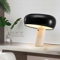 Простой итальянский настольная лампа с мраморной подставкой белый гриб черная шляпа Настольные светильники для гостиницы читальный зал ис