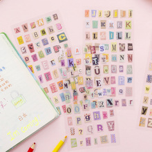 6 pçs/set Carta Bonito Adesivo Personalizado Adesivos Etiqueta Bonito Estudante Papelaria Etiquetas Scrapbooking Fontes Da Arte