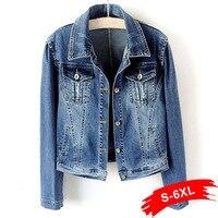 Plus Size White Blue Bomber Short Denim Jackets 4XL 5XL Streetwear Stretch Jeans Jacket Casual Jaqueta Jeans Coat Female Tops