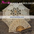 Free Shipping,Children's Beige Vintage Lace Parasol And Fan