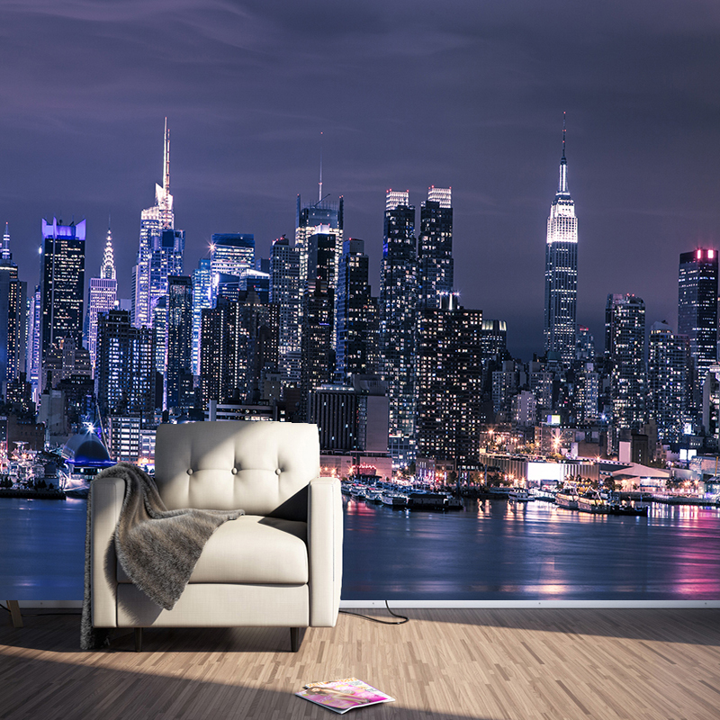 Modern New York City Night View Photo Mural Wallpaper Living Room KTV Bar Cafe Restaurant Backdrop Wall Covering Papel Murals 3D