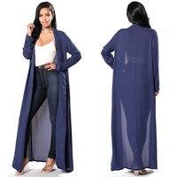 Blue Cardigan Blouse Trench Coat Autumn Spring Women Long Sleeve V Neck Chiffon Long Blouses Plus