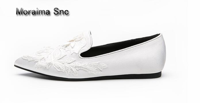 Moraima Snc pointed toe mules shoes casual embroider loafers shoes women 2018 spring flats black white sapatos mulher size 40 covibesco new arrival women flats shoes brand women shoes sexy pointed toe black red green spring summer casual loafers shoes