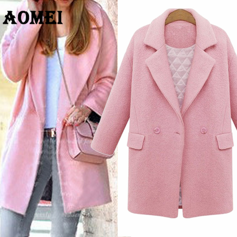 Women Pink Wool Outcoats Quilted Parka Casual Wear Work Office Lady Thicken Outwear Clothes 2019 New