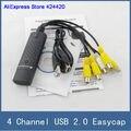USB 2.0 Easycap 4 Канала, 4-КАНАЛЬНЫЙ DVR CCTV Камеры Аудио Видео Захват Адаптер Recorder, для Портативных ПК Windows XP