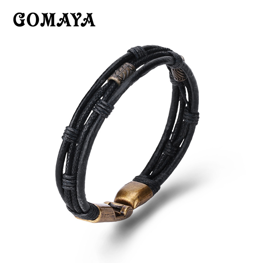 GOMAYA Simple Vintage Weaving Leather Bracelet Black/Multicolor/Brown Color Easy-Hook Unisex Bracelet