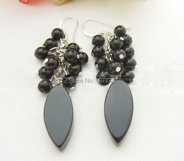 @@~~~ Natural Black Onyx Earring-925 Silver Hook  free + shippment