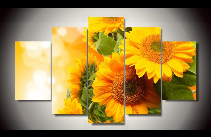 Sunflower Wall Art aliexpress : buy 5 pcs hot sell sunflowers wall art picture